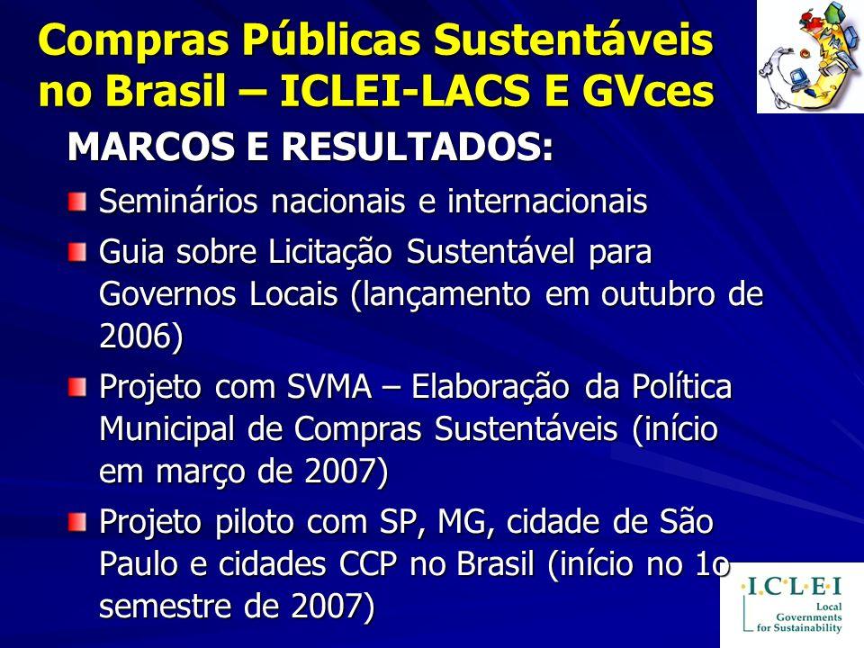 Compras Públicas Sustentáveis no Brasil – ICLEI-LACS E GVces