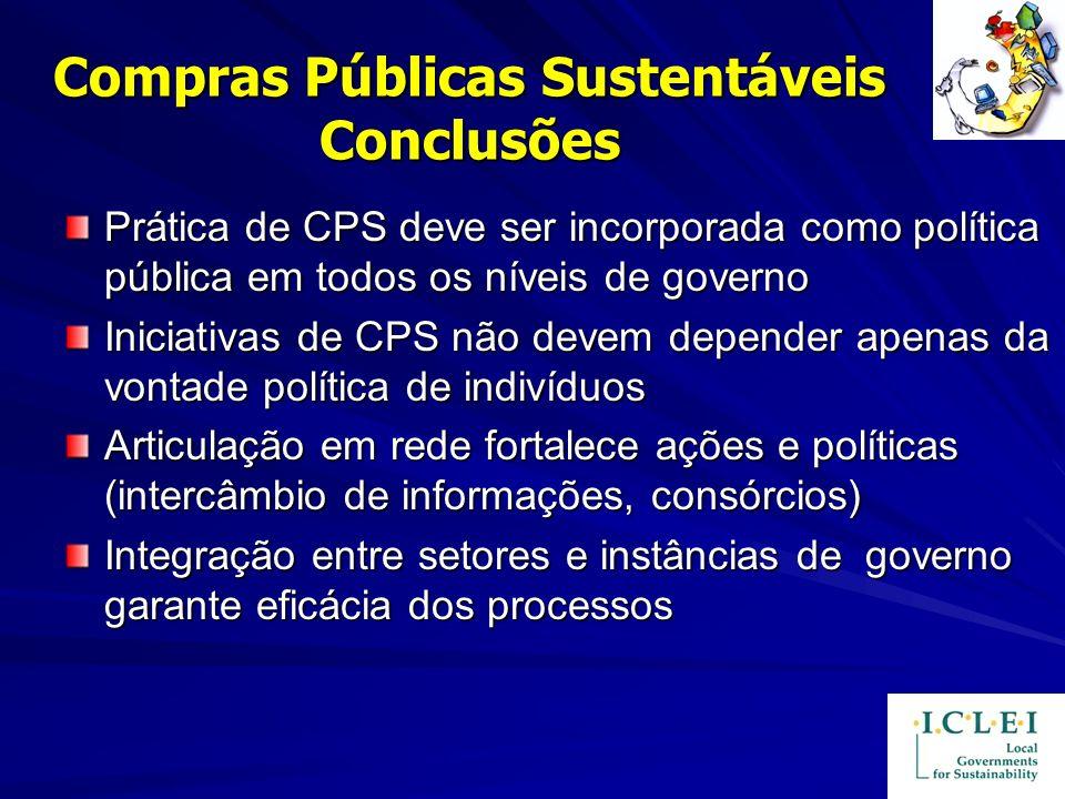 Compras Públicas Sustentáveis Conclusões