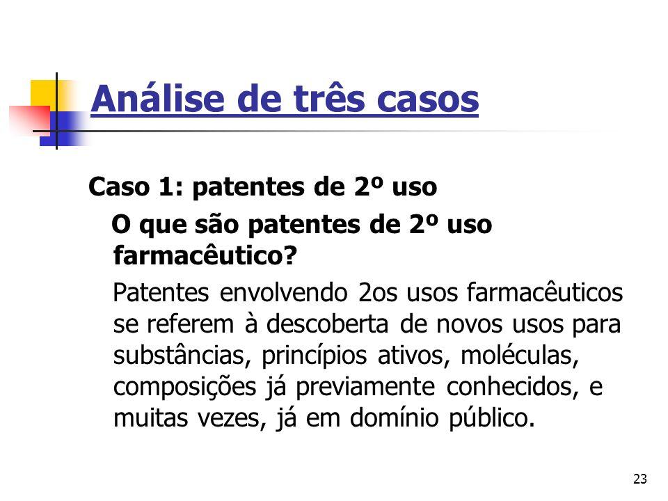 Análise de três casos Caso 1: patentes de 2º uso