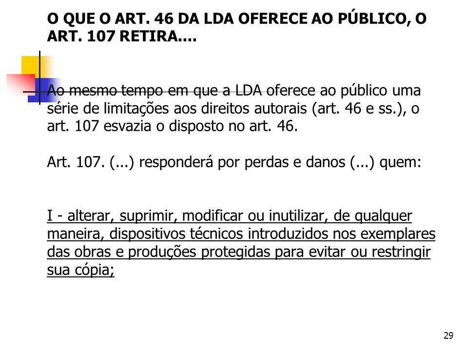 O QUE O ART. 46 DA LDA OFERECE AO PÚBLICO, O ART. 107 RETIRA