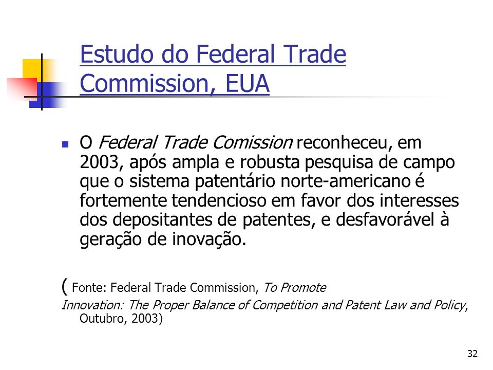 Estudo do Federal Trade Commission, EUA