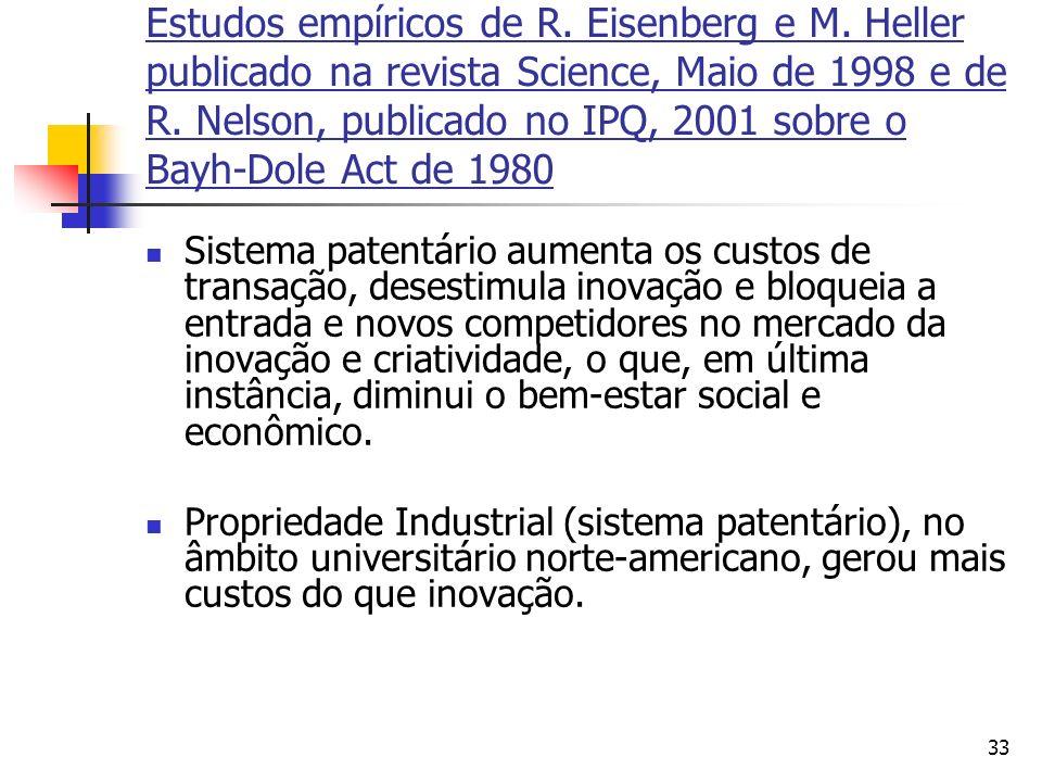 Estudos empíricos de R. Eisenberg e M