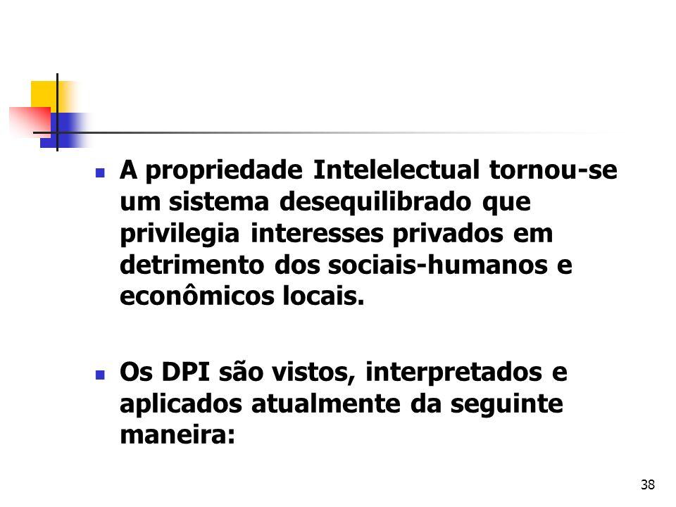 A propriedade Intelelectual tornou-se um sistema desequilibrado que privilegia interesses privados em detrimento dos sociais-humanos e econômicos locais.