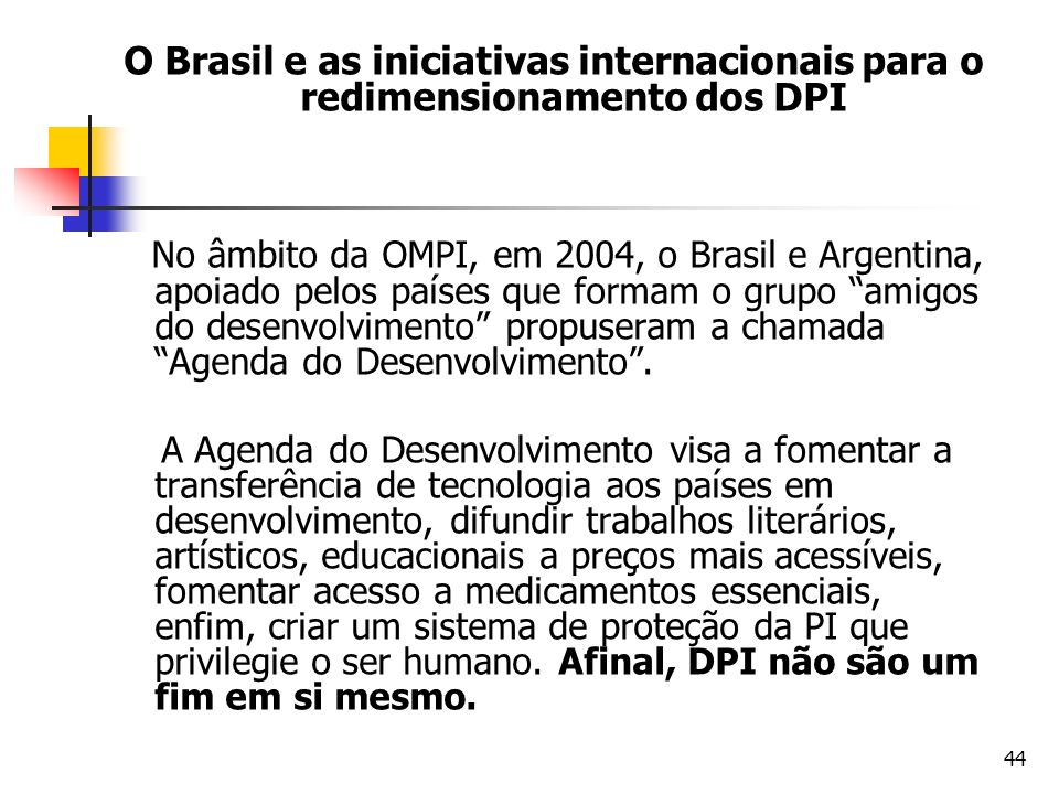 O Brasil e as iniciativas internacionais para o redimensionamento dos DPI