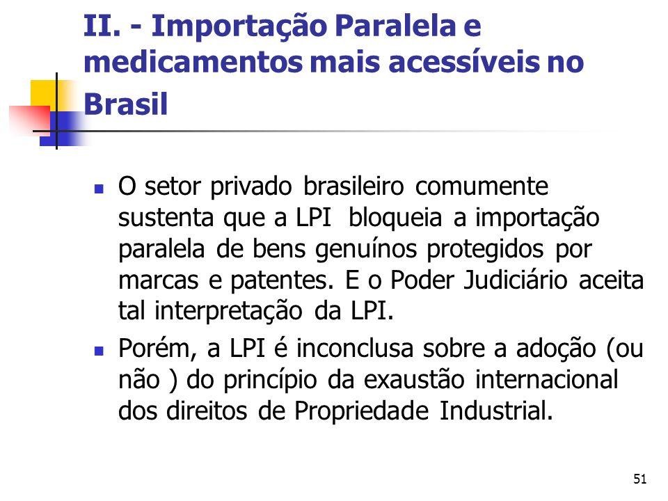 II. - Importação Paralela e medicamentos mais acessíveis no Brasil