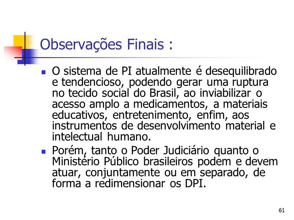 Observações Finais :