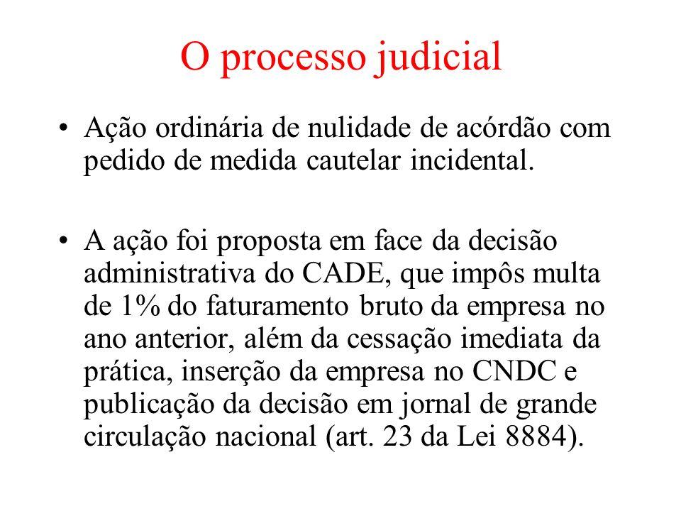 O processo judicialAção ordinária de nulidade de acórdão com pedido de medida cautelar incidental.