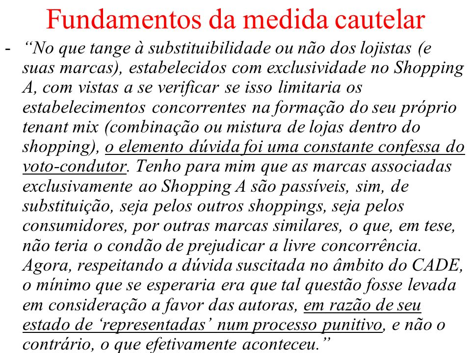 Fundamentos da medida cautelar