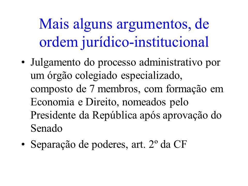 Mais alguns argumentos, de ordem jurídico-institucional