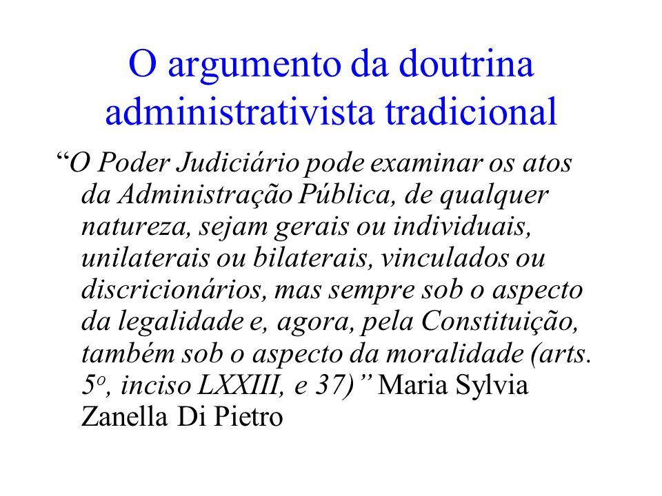 O argumento da doutrina administrativista tradicional