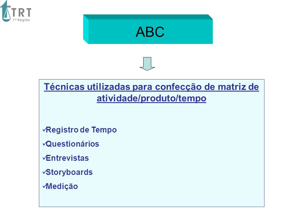 ABC Técnicas utilizadas para confecção de matriz de atividade/produto/tempo. Registro de Tempo. Questionários.