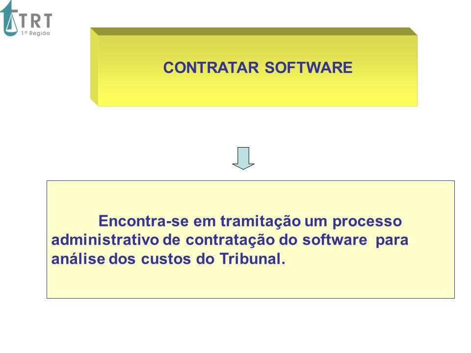 CONTRATAR SOFTWARE Encontra-se em tramitação um processo administrativo de contratação do software para análise dos custos do Tribunal.