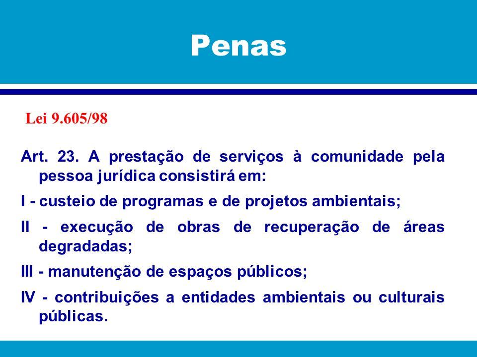 Penas Lei 9.605/98. Art. 23. A prestação de serviços à comunidade pela pessoa jurídica consistirá em: