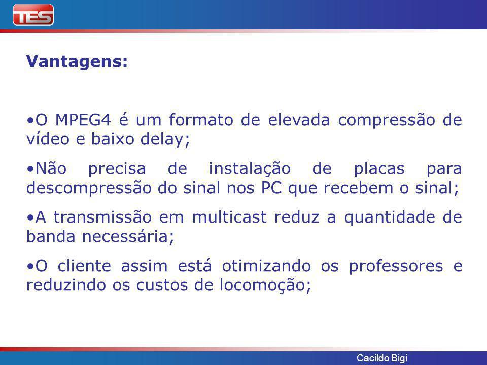 O MPEG4 é um formato de elevada compressão de vídeo e baixo delay;