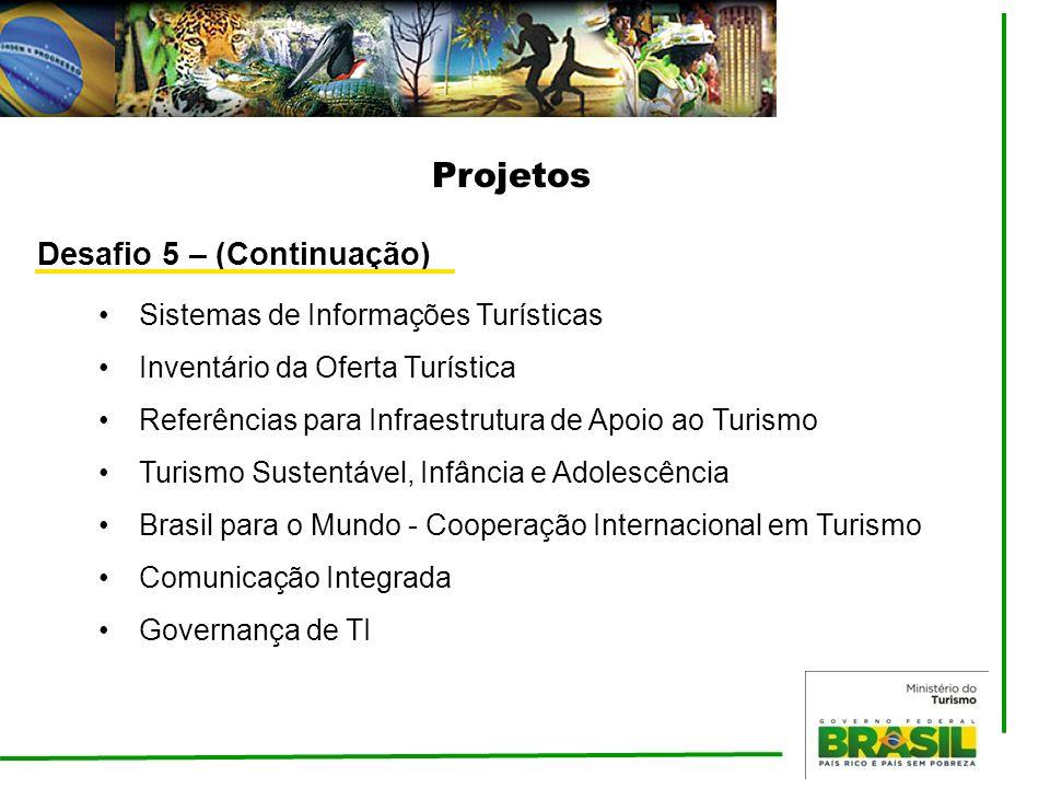 Projetos Desafio 5 – (Continuação) Sistemas de Informações Turísticas