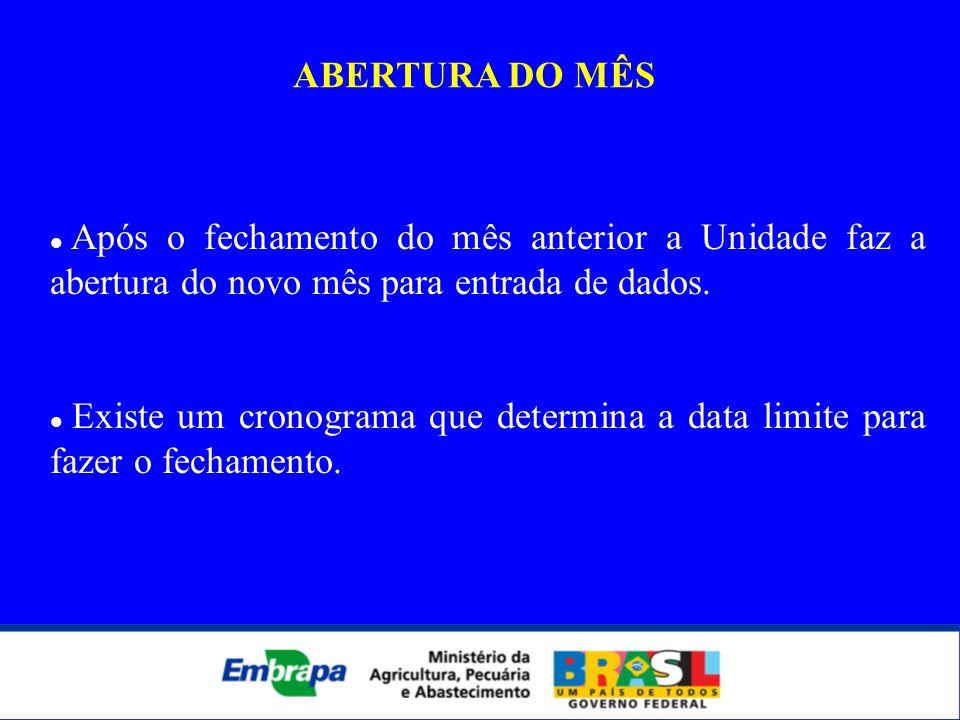ABERTURA DO MÊSApós o fechamento do mês anterior a Unidade faz a abertura do novo mês para entrada de dados.
