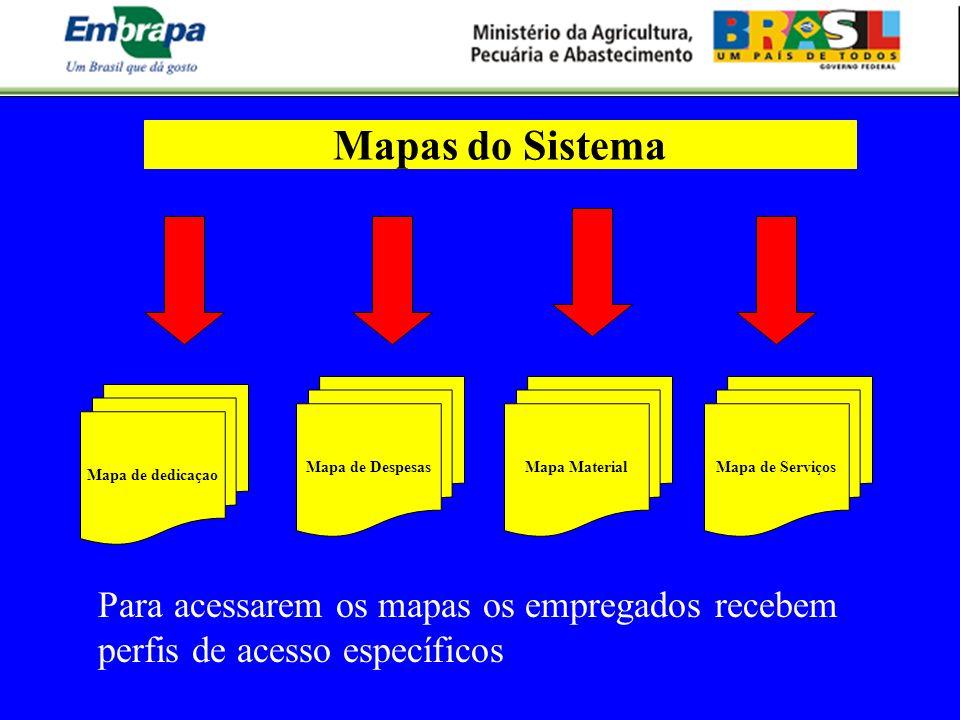 Mapas do SistemaMapa de Despesas. Mapa Material. Mapa de Serviços. Mapa de dedicaçao.