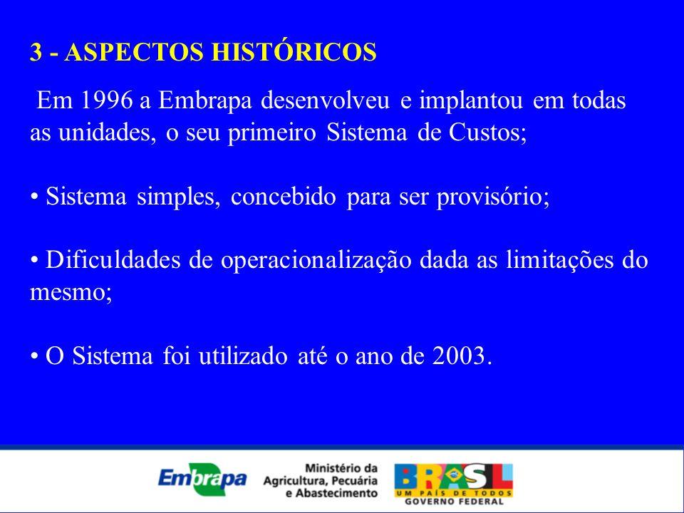 3 - ASPECTOS HISTÓRICOSEm 1996 a Embrapa desenvolveu e implantou em todas as unidades, o seu primeiro Sistema de Custos;