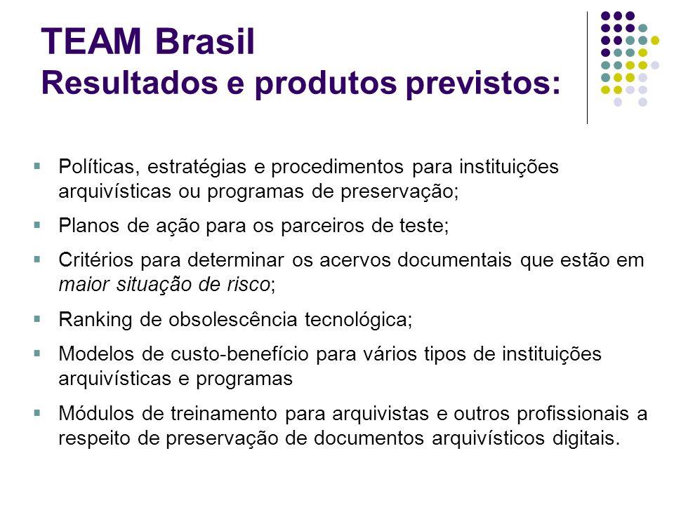 TEAM Brasil Resultados e produtos previstos: