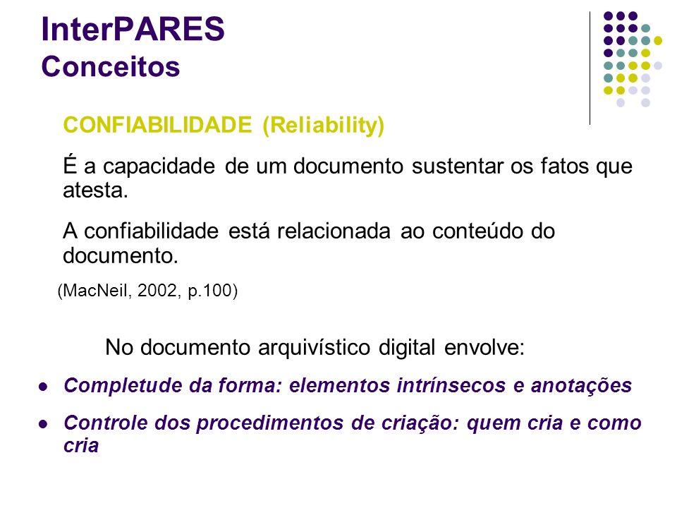 InterPARES Conceitos CONFIABILIDADE (Reliability)