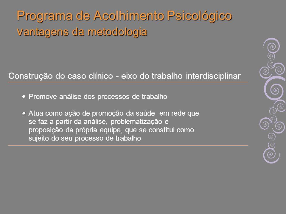 Programa de Acolhimento Psicológico vantagens da metodologia