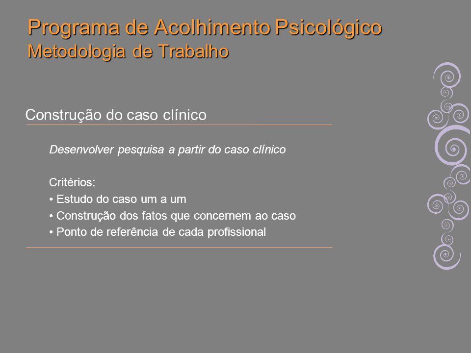 Programa de Acolhimento Psicológico Metodologia de Trabalho