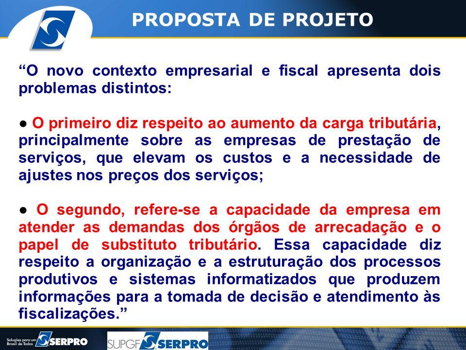PROPOSTA DE PROJETO O novo contexto empresarial e fiscal apresenta dois problemas distintos: