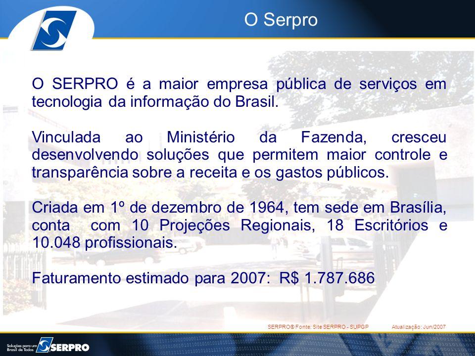 O SerproO SERPRO é a maior empresa pública de serviços em tecnologia da informação do Brasil.
