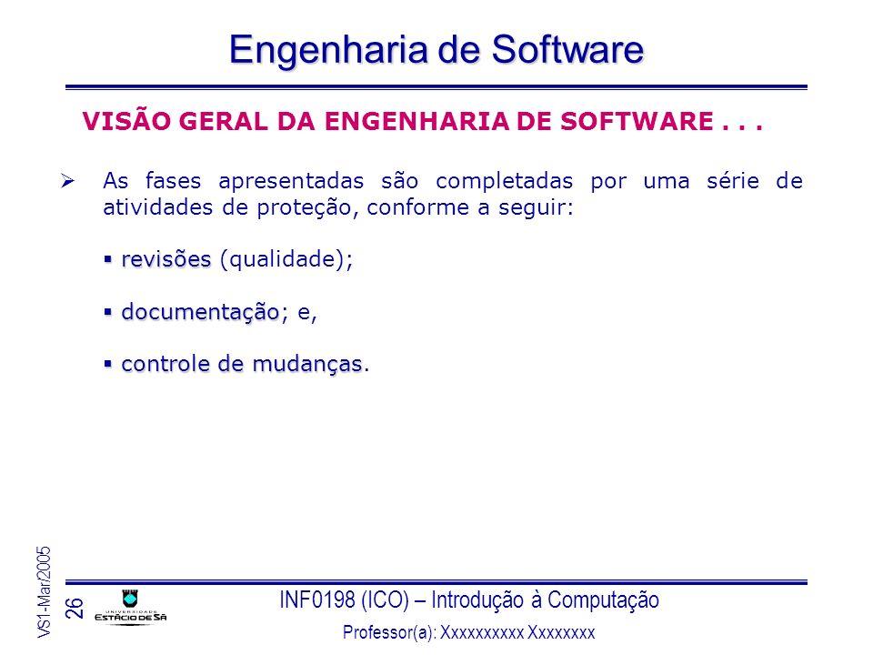 VISÃO GERAL DA ENGENHARIA DE SOFTWARE . . .