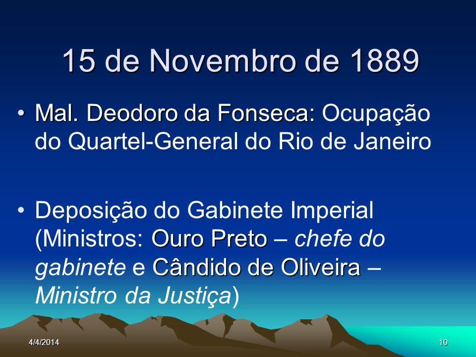 15 de Novembro de 1889 Mal. Deodoro da Fonseca: Ocupação do Quartel-General do Rio de Janeiro.