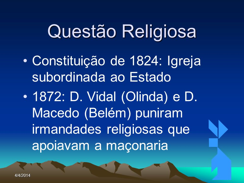 Questão Religiosa Constituição de 1824: Igreja subordinada ao Estado