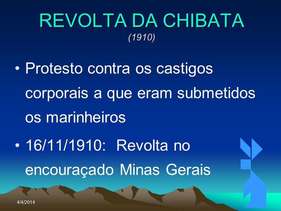 REVOLTA DA CHIBATA (1910)Protesto contra os castigos corporais a que eram submetidos os marinheiros.