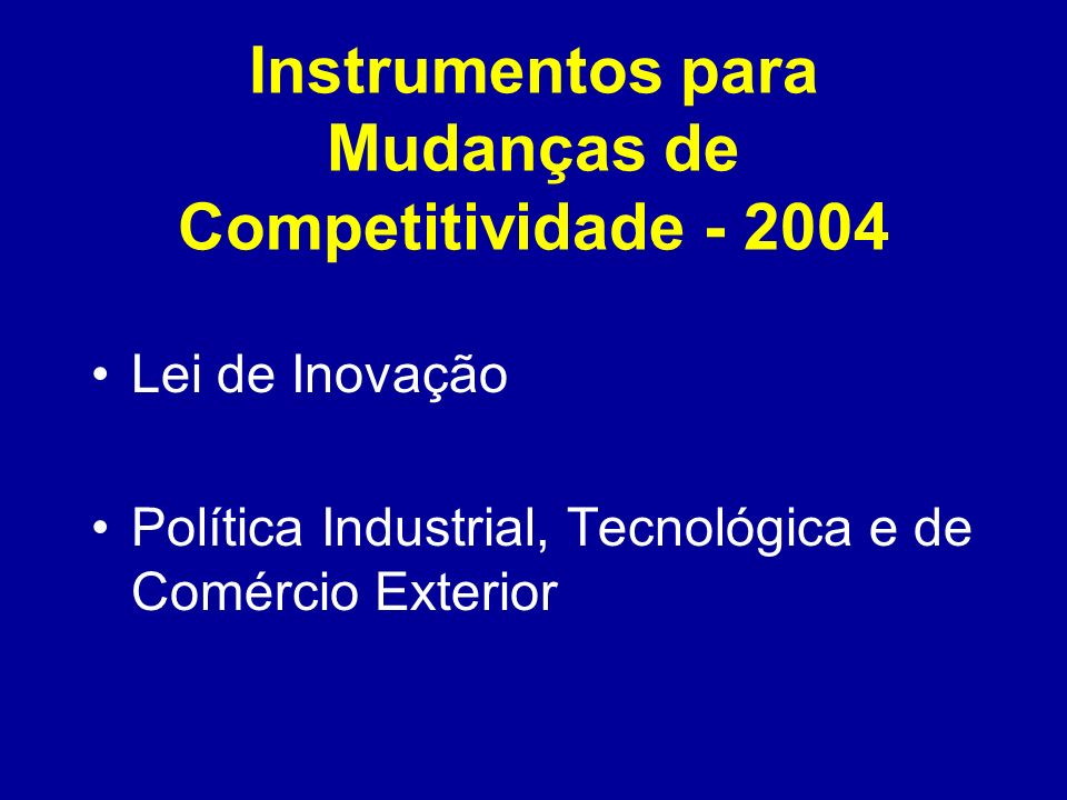 Instrumentos para Mudanças de Competitividade - 2004
