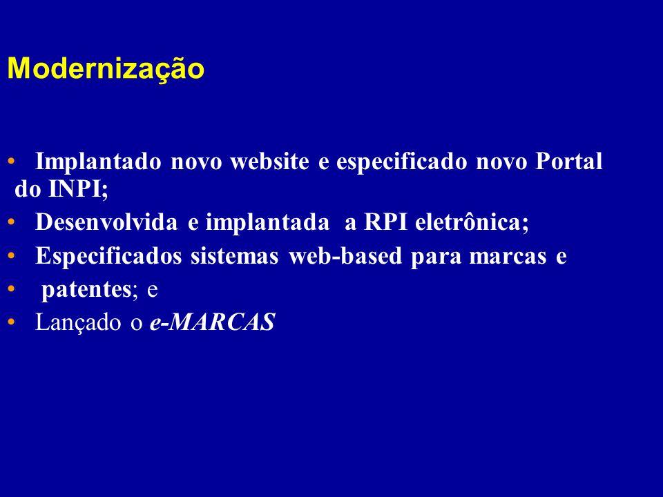 Modernização Implantado novo website e especificado novo Portal do INPI; Desenvolvida e implantada a RPI eletrônica;
