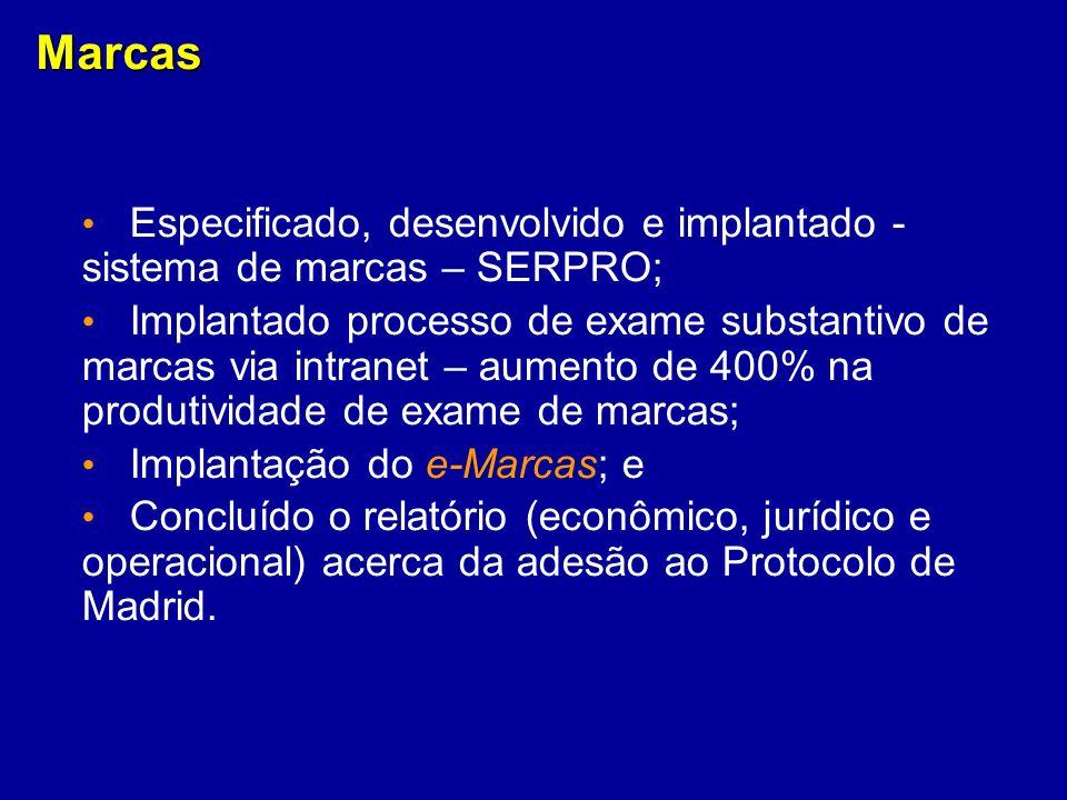 Marcas Especificado, desenvolvido e implantado - sistema de marcas – SERPRO;