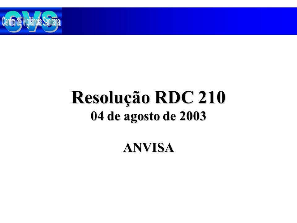 Resolução RDC 210 04 de agosto de 2003 ANVISA