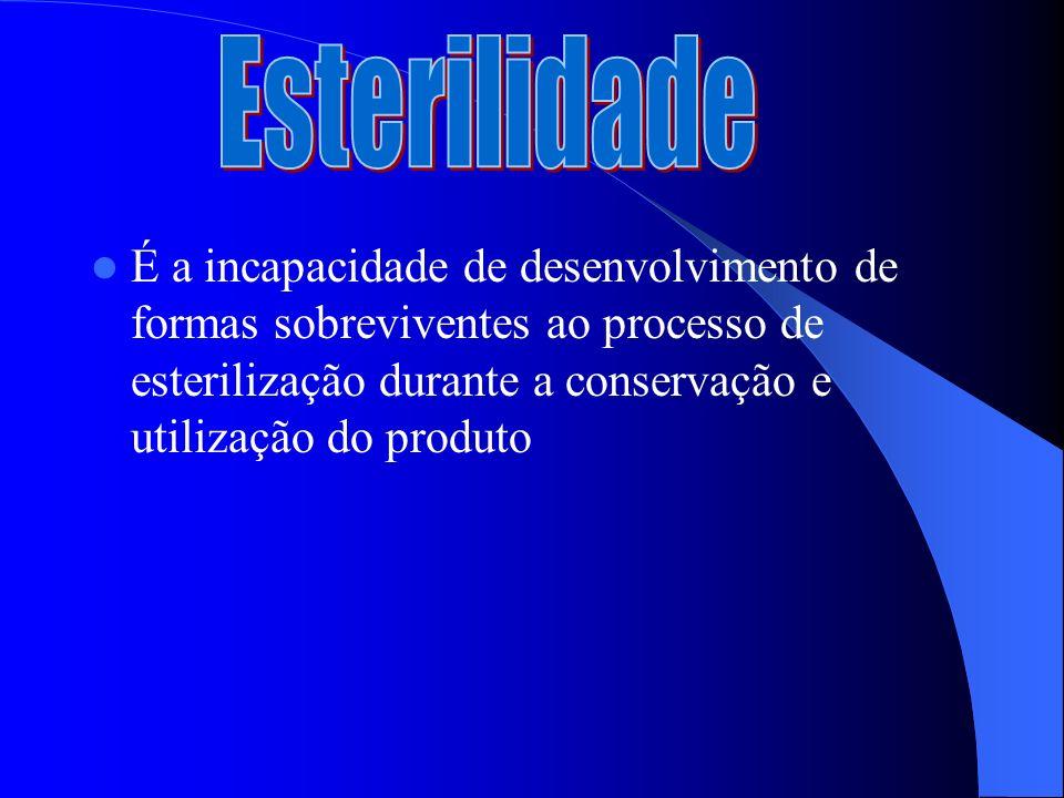 Esterilidade É a incapacidade de desenvolvimento de formas sobreviventes ao processo de esterilização durante a conservação e utilização do produto.
