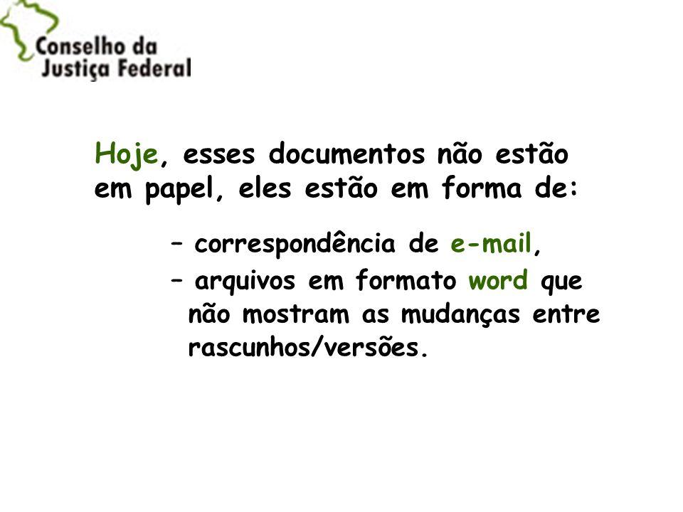 Hoje, esses documentos não estão em papel, eles estão em forma de: