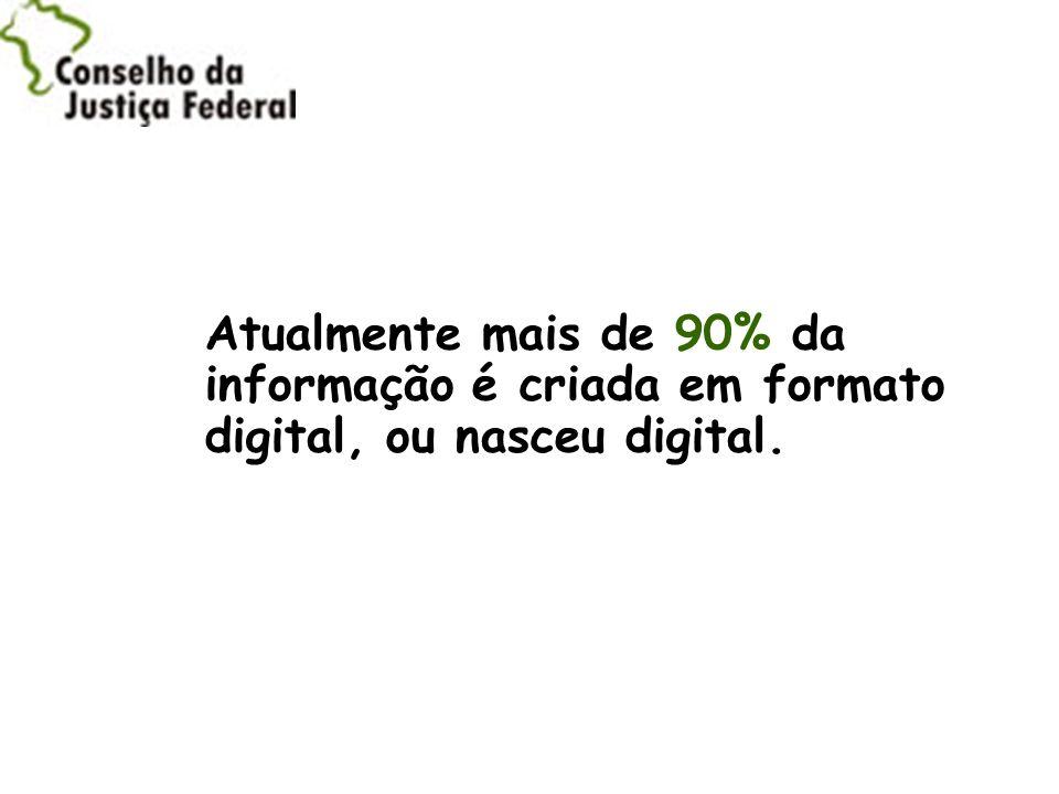 Atualmente mais de 90% da informação é criada em formato digital, ou nasceu digital.