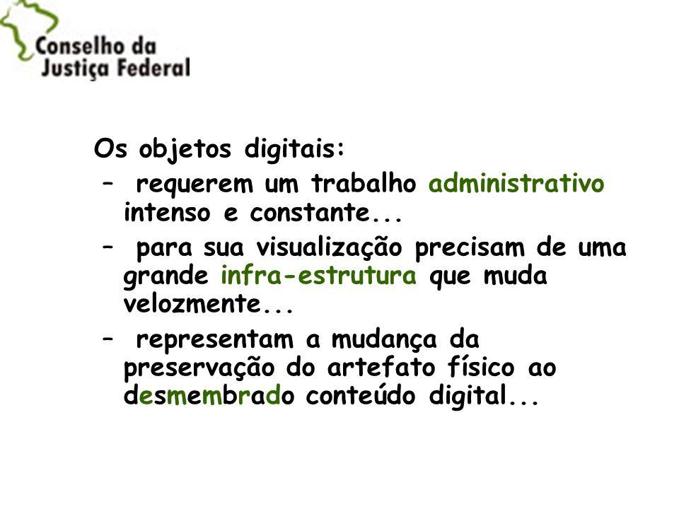 Os objetos digitais: requerem um trabalho administrativo intenso e constante...