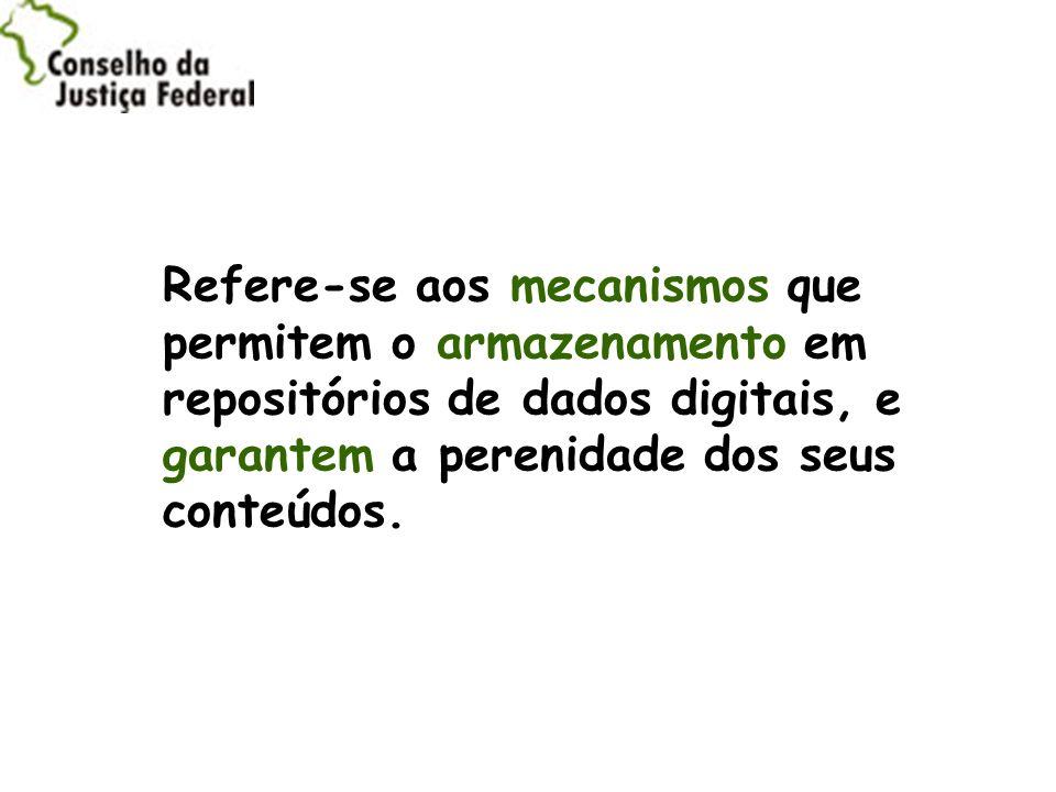 Refere-se aos mecanismos que permitem o armazenamento em repositórios de dados digitais, e garantem a perenidade dos seus conteúdos.