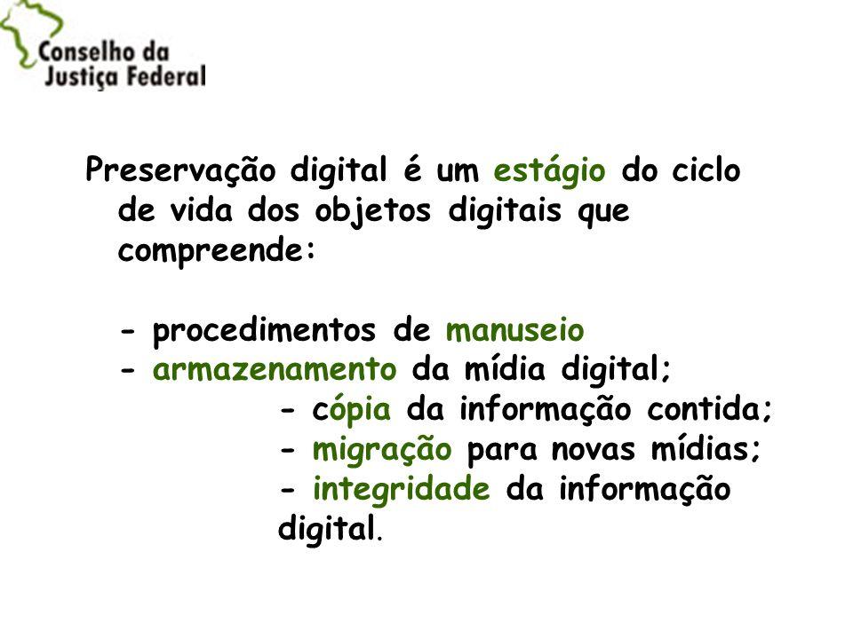 Preservação digital é um estágio do ciclo de vida dos objetos digitais que compreende:
