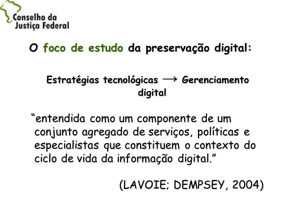O foco de estudo da preservação digital: