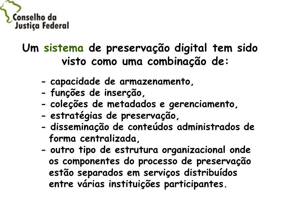 Um sistema de preservação digital tem sido visto como uma combinação de: