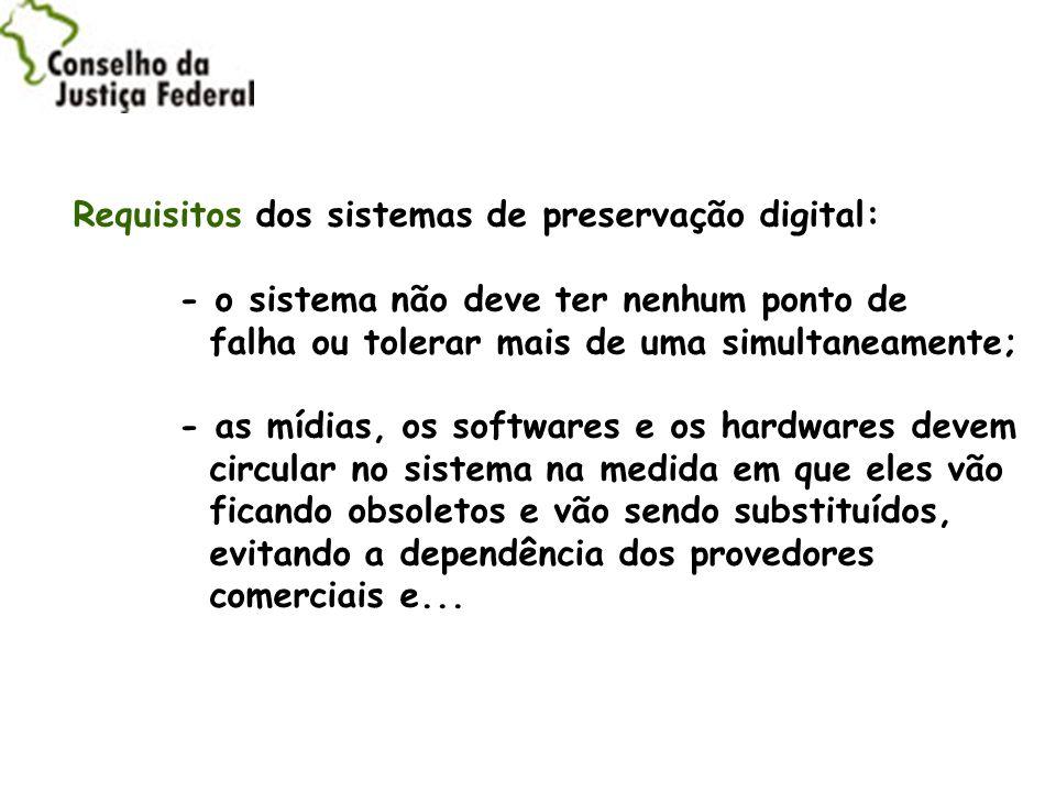 Requisitos dos sistemas de preservação digital: