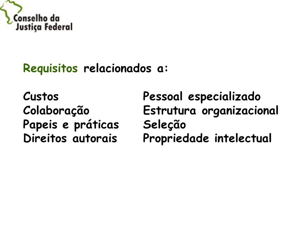 Requisitos relacionados a: Custos. Pessoal especializado Colaboração
