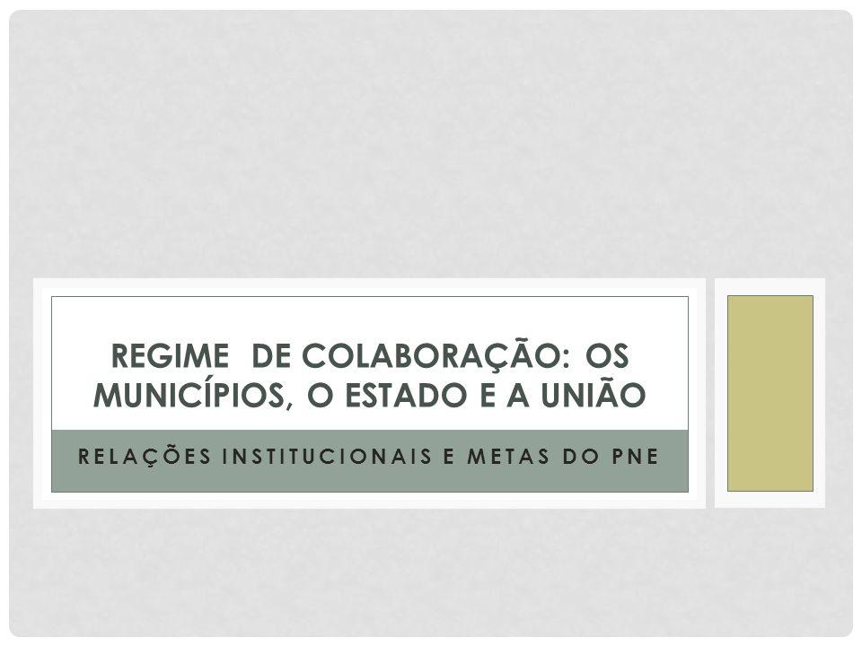 REGIME DE COLABORAÇÃO: OS MUNICÍPIOS, O ESTADO E A UNIÃO