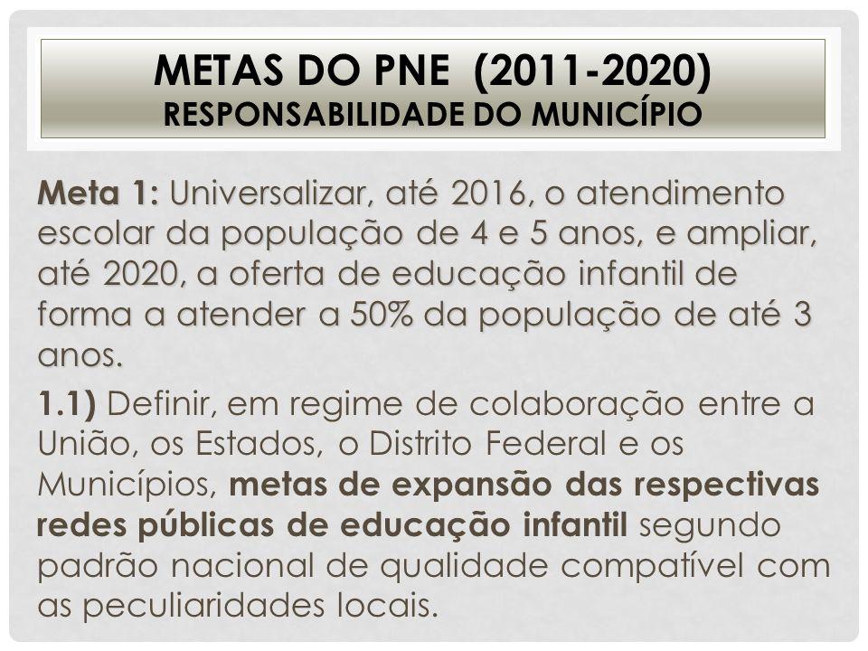 Metas do PNE (2011-2020) responsabilidade do Município