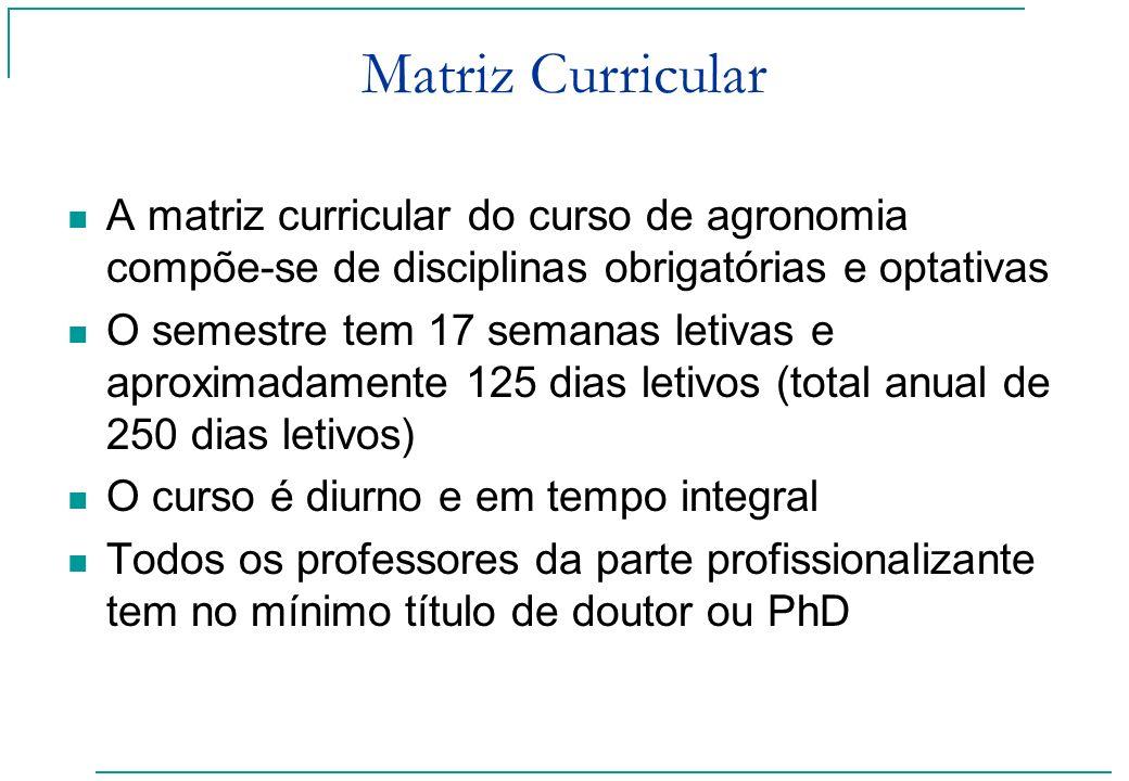 Matriz Curricular A matriz curricular do curso de agronomia compõe-se de disciplinas obrigatórias e optativas.