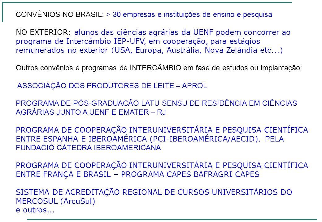 CONVÊNIOS NO BRASIL: > 30 empresas e instituições de ensino e pesquisa